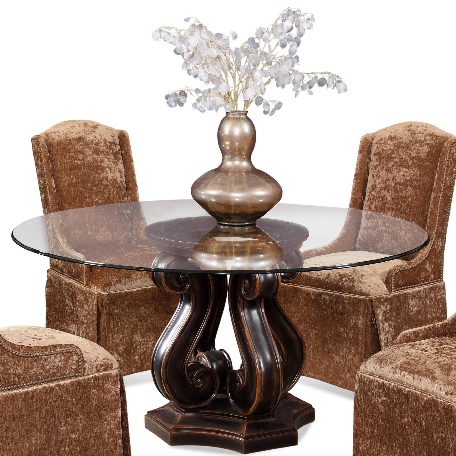 Dining Tudor Pedestal Base Table With Round Gl Top By Cmi