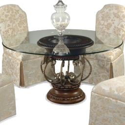 CMI Elegance Tobacco Glass Top Dining Table