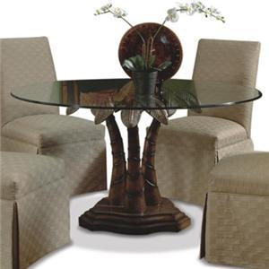 CMI Ledo Round Glass Top Pedestal Dining Table