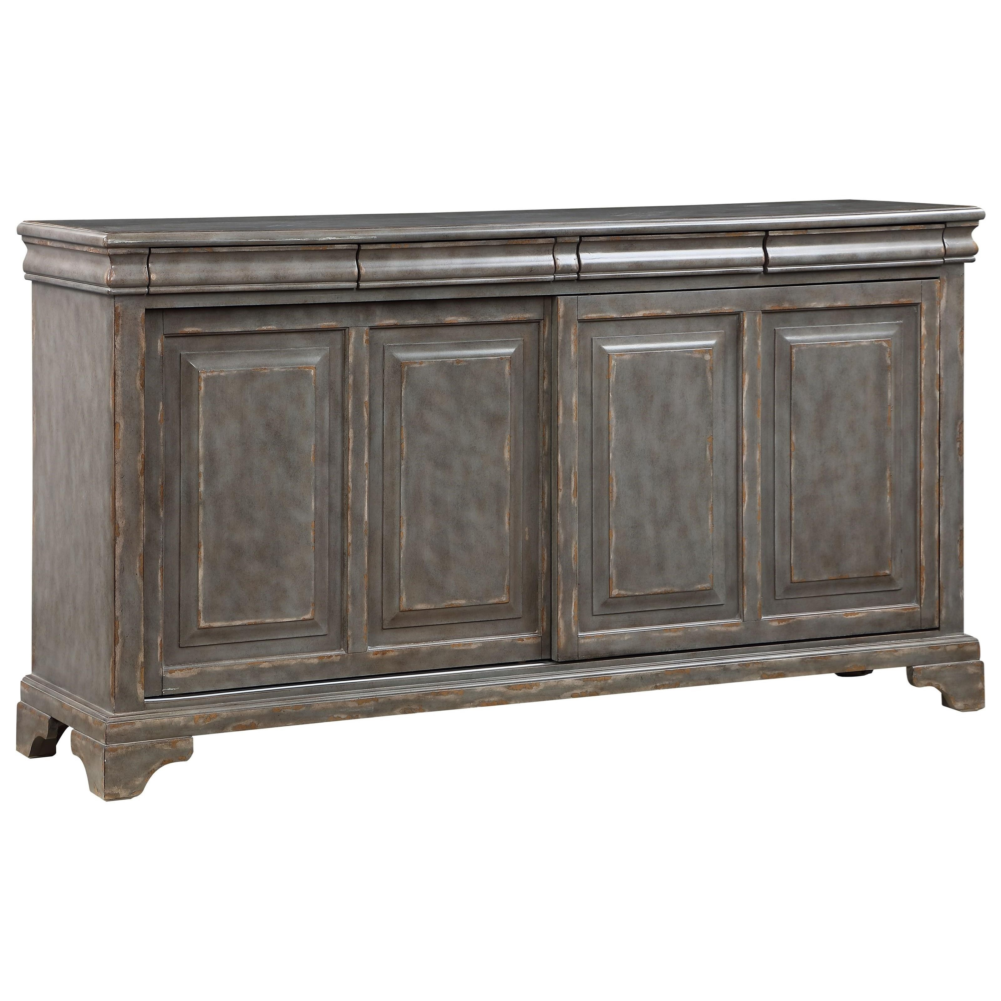 2-Sliding Door 4-Drawer Accent Cabinet