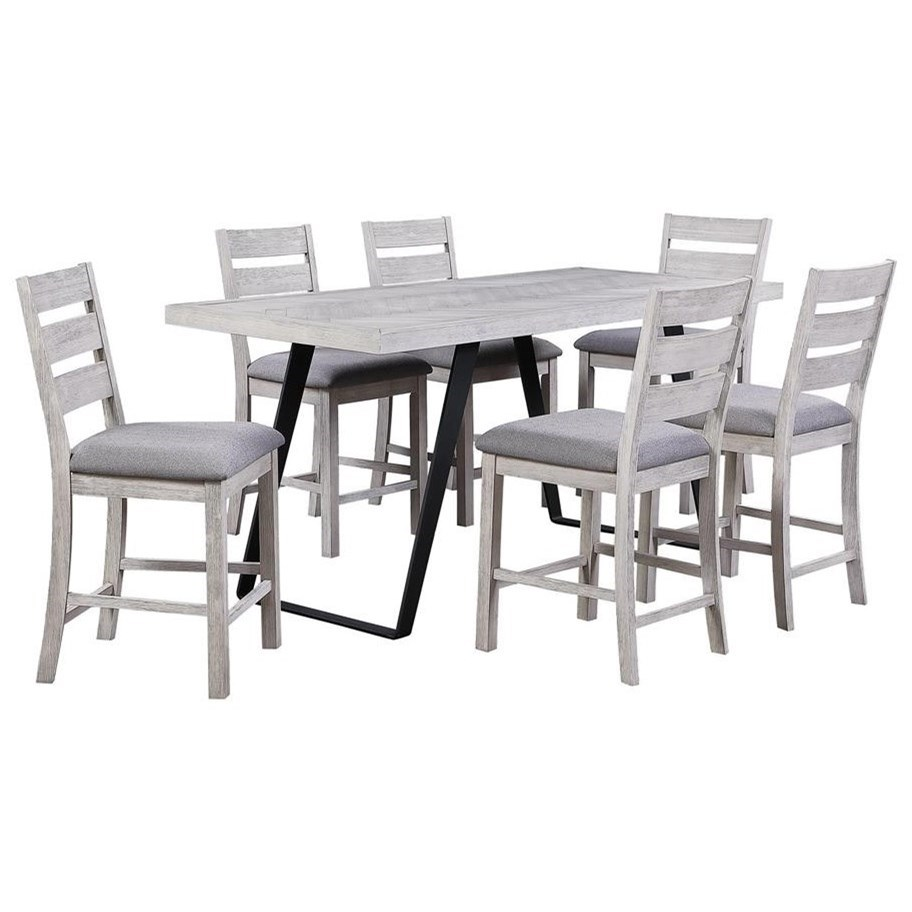 Aspen Court II 7-Piece Counter Height Table and Chair Set by Kaleidoscope at Sprintz Furniture