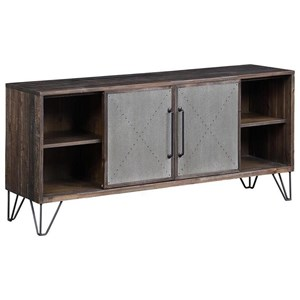 Industrial Two Sliding Door Three Drawer Media Console