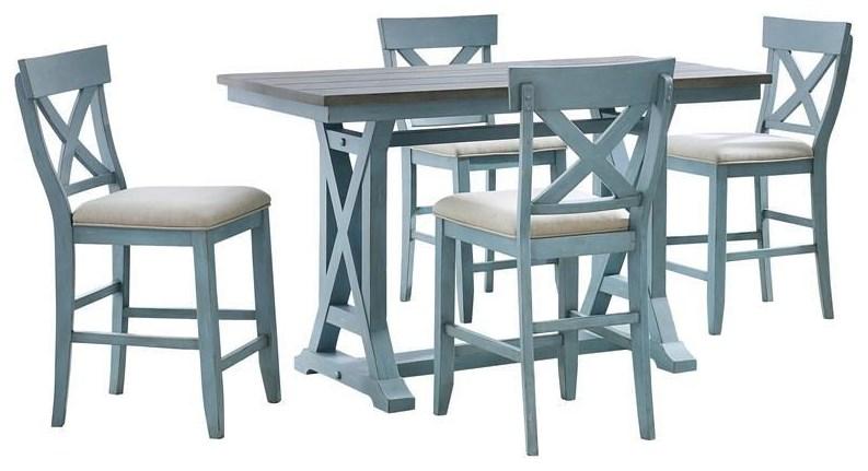 Bar Harbor COUNTER HEIGHT TABLE With 4 STOOLS by Coast to Coast Imports at Johnny Janosik