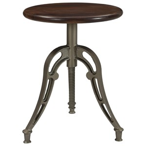 Industrial Round Adjustable Barstool