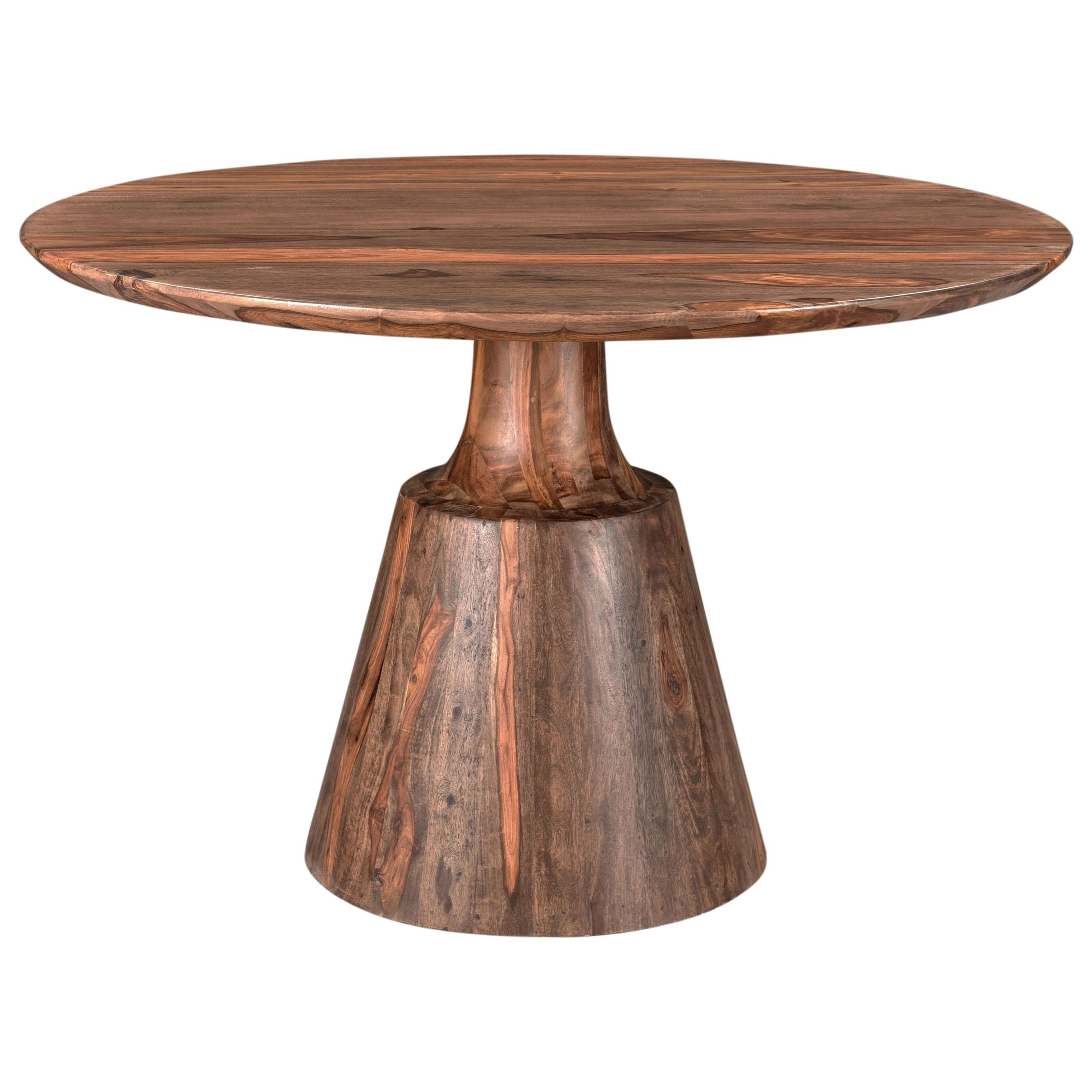 Coast To Coast Imports Brownstone Rustic Round Dining Table With Pedestal Base Zak S Home Dining Tables