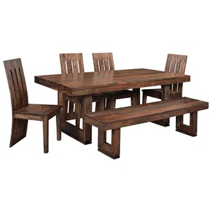 Coast to Coast Imports Brownstone Table and Chair Set with Bench