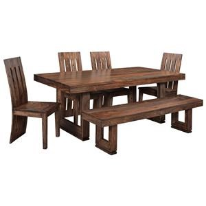 Coast to Coast Imports Brownstone 5 Piece Table & Chair Set