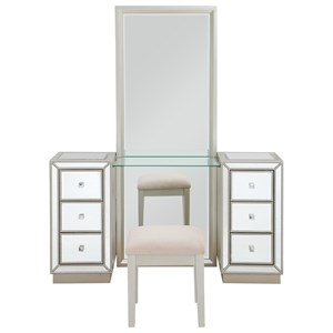 Six Drawer Console w/ Mirror & Stool