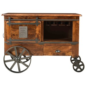 Industrial Two Door One Drawer Wine Cart