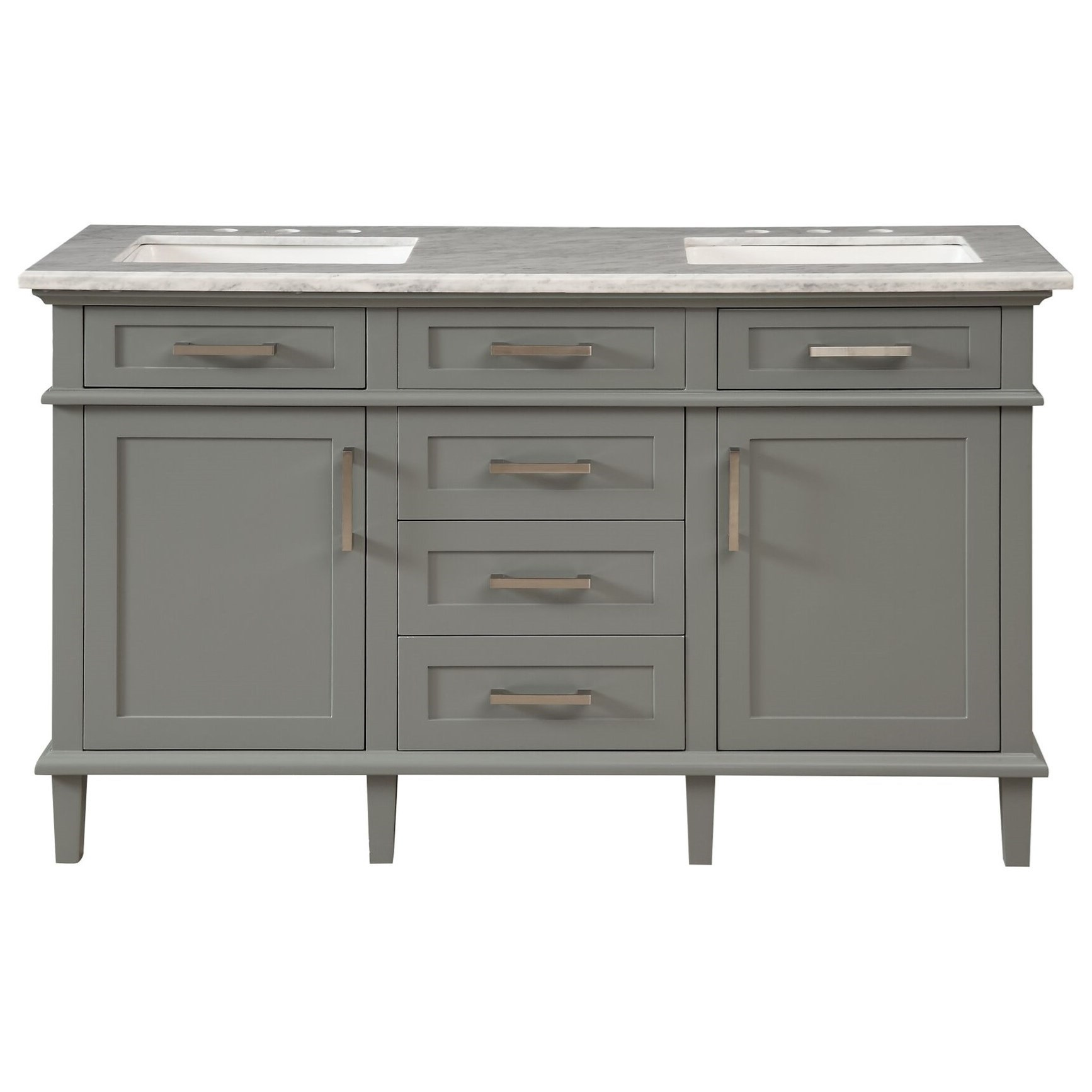 2-Door, 5-Drawer Double Vanity Sink