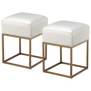 Set of Two Contemporary Accent Stools