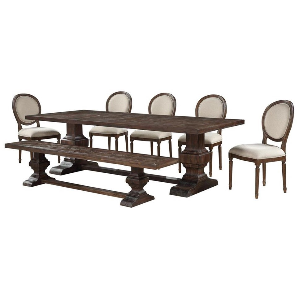 Marquette 7-Piece Table and Chair Set with Bench by Coast to Coast Imports at Johnny Janosik