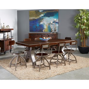 Industrial 9-Piece Pub Table and Chair Set with Adjustable Height
