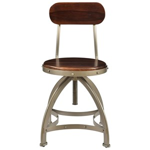 Industrial Barstool with Adjustable Height and Rivet Detailing