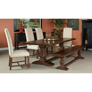 Coast to Coast Imports Woodbridge Dining Table with Bench & 4 Chairs
