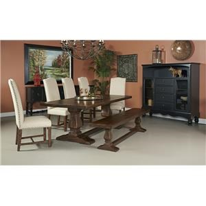 Coast to Coast Imports Woodbridge Double Pedestal Dining Table, 5 Side Chairs