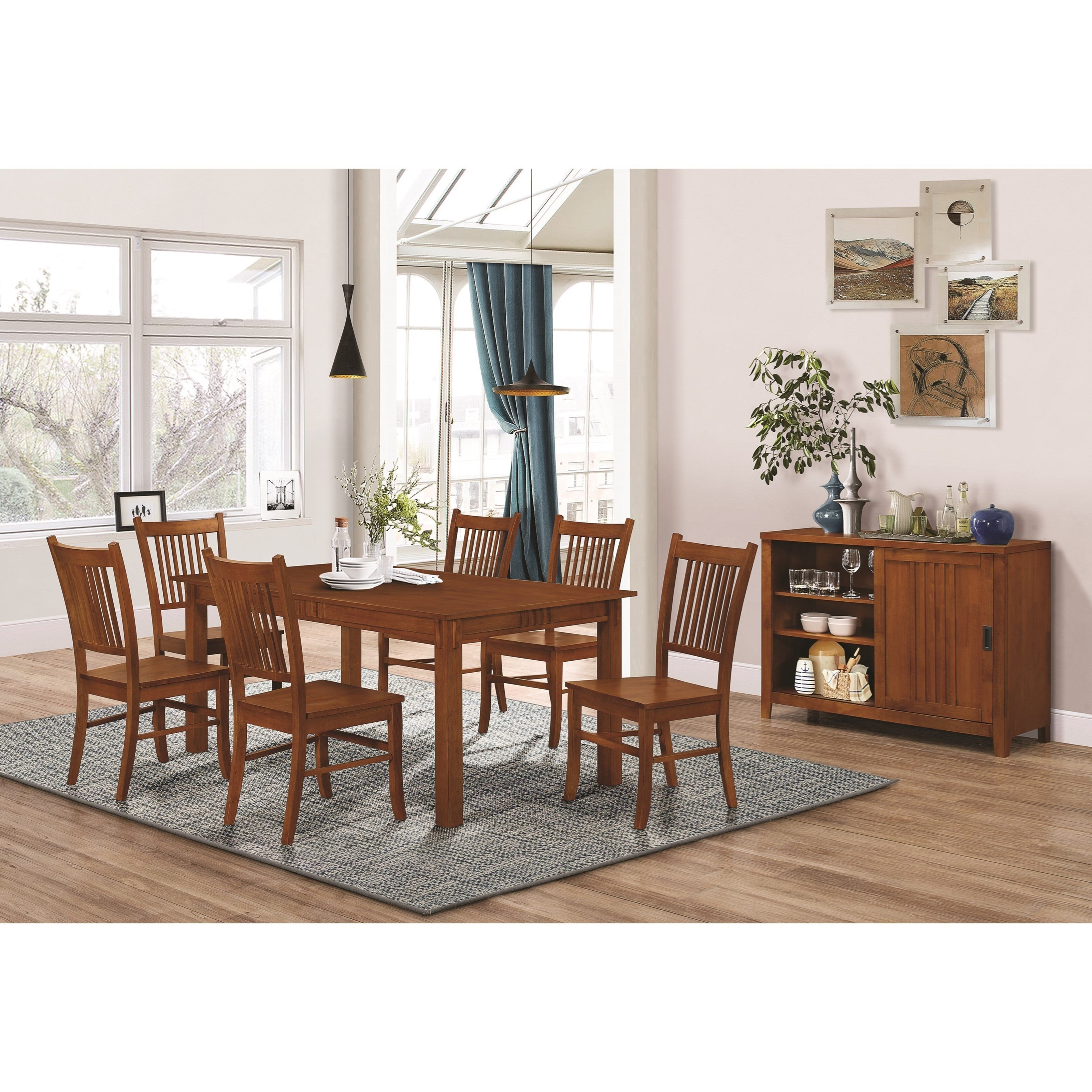 Mission Style Dining Room Tables: Marbrisa Mission Style 7 Piece Dining Set
