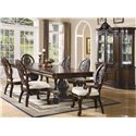 Coaster Tabitha Traditional Rectangular Double Pedestal Dining Table - Shown with Dining Chairs and China Cabinet