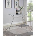 Coaster 182212 Contemporary Chrome Finish Rectangular Bar Table with Glass Top