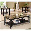 Coaster Occasional Table Sets 3 Piece Occasional Table Set with Shelf and Marble Look Top - 700155