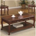 Coaster Occasional Table Sets Traditional 3 Piece Occasional Table Set with Parquet Top - Coffee Table, Part of 3 Piece Set