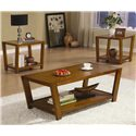 Coaster Occasional Table Sets Contemporary 3 Piece Occasional Table Set - Shown in Medium Brown Finish