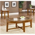 Coaster Occasional Table Sets 3 Piece Occasional Table Set with Tempered Glass Insert - 3 Piece Table Set Shown in Warm Light Brown Finish