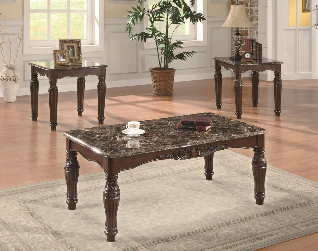 Coaster Occasional Table Sets 3-Piece Traditional Faux Marble Table Set - Item Number: 701554