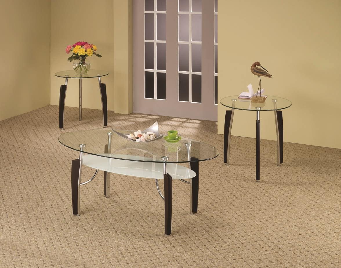 Coaster Occasional Table Sets 3-Piece Glass Top Occasional Set - Item Number: 701558