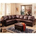 Coaster Samuel Contemporary Leather Ottoman - Shown in Room Setting with Sectional Sofa