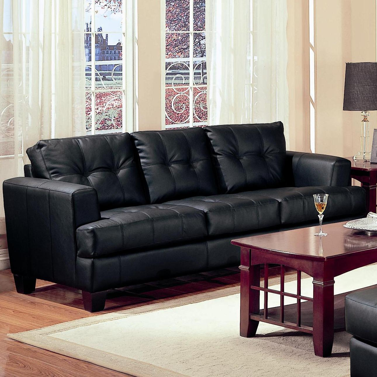 coaster samuel 2 piece black bonded leather loveseat and sof