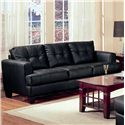 Coaster Samuel 2 Piece Black Bonded Leather Loveseat and Sofa Group - Stationary Sofa