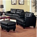 Coaster Samuel Contemporary Leather Ottoman - 501684 - Shown with Chair