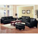 Coaster Samuel Contemporary Leather Ottoman - Shown in Room Setting with Sofa, Loveseat, and Chair