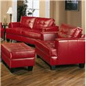 Coaster Samuel Contemporary Leather Chair - 501833 - Shown with Ottoman