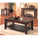 Coaster Abernathy Rectangular Coffee Table with Shelf - Shown with End Table and Sofa Table