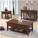 Coaster Whitehall Coffee Table w/ Shelf & Drawers - Shown with End Table and Sofa Table