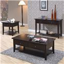 Coaster Whitehall End Table w/ Shelf & Drawer - Shown with Coffee Table and Sofa Table
