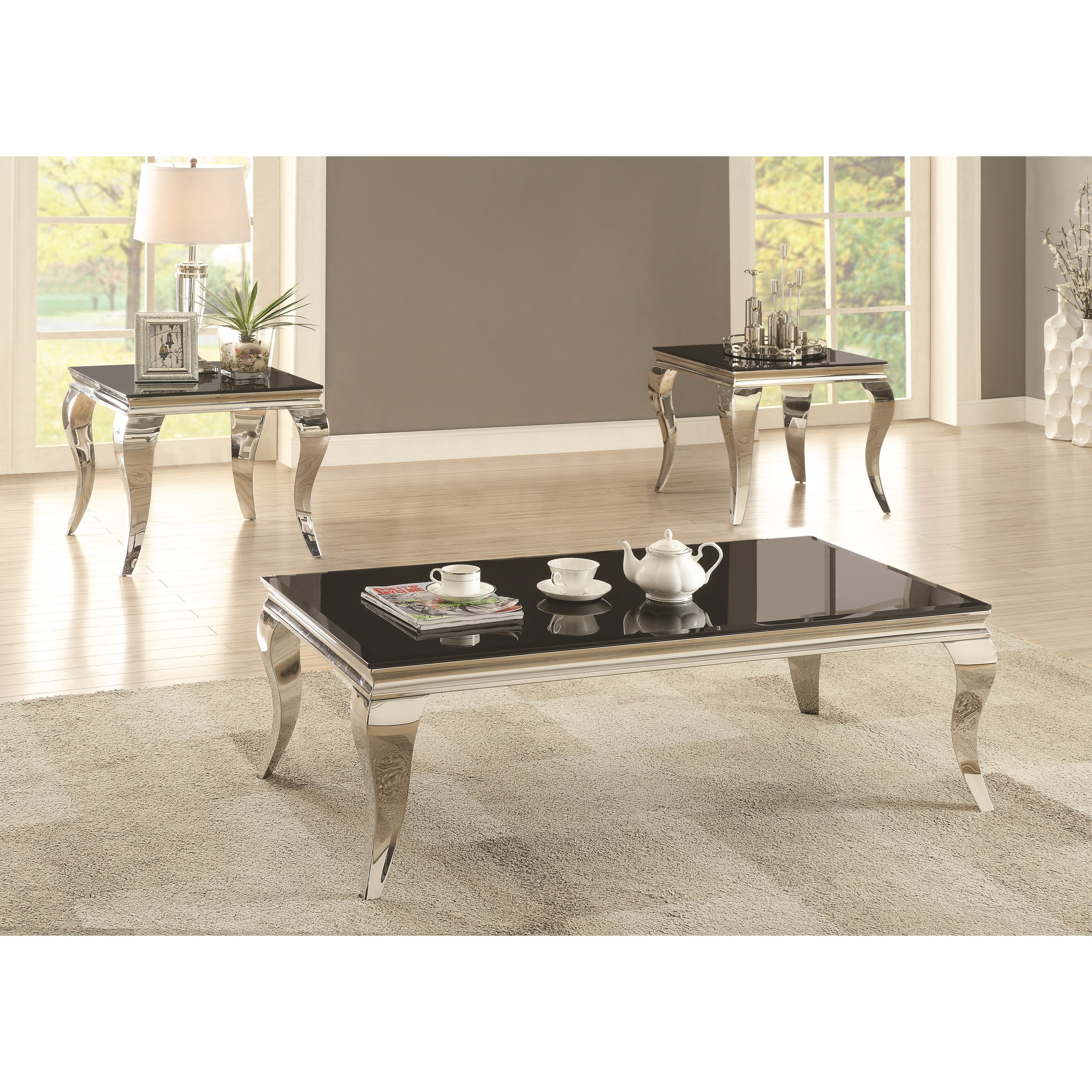 Coaster Carone Contemporary Glam Dining Room Set With: Coaster 705010 705018 Glam Coffee Table With Queen Anne