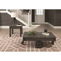 Coaster 72057 Rustic Coffee Table With Metal Accent Wheels