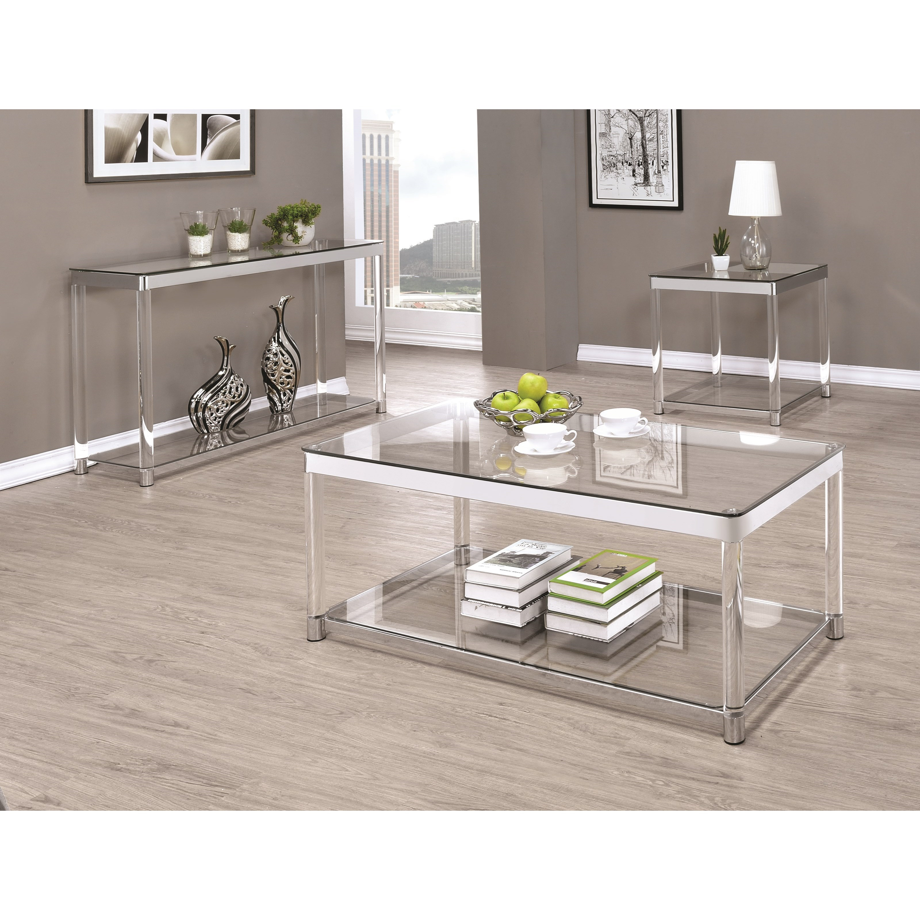 Coaster 72074 Contemporary Glass Top Coffee Table With