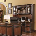 Coaster Pergola Traditional Kneehole Credenza and Hutch - Shown in Room Setting with File Cabinet, Bookcase, and Desk