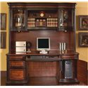 Coaster Pergola Double Pedestal Kneehole Credenza Desk - Shown with Hutch