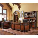 Coaster Pergola Double Pedestal Kneehole Credenza Desk - Shown in Room Setting with File Cabinet, Desk, Bookcase, and Hutch