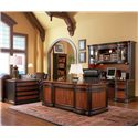 Coaster Pergola Double Pedestal Desk with Felt Lined Drawers - Shown in Room Setting with File Cabinet, Bookcase, and Credenza with Hutch