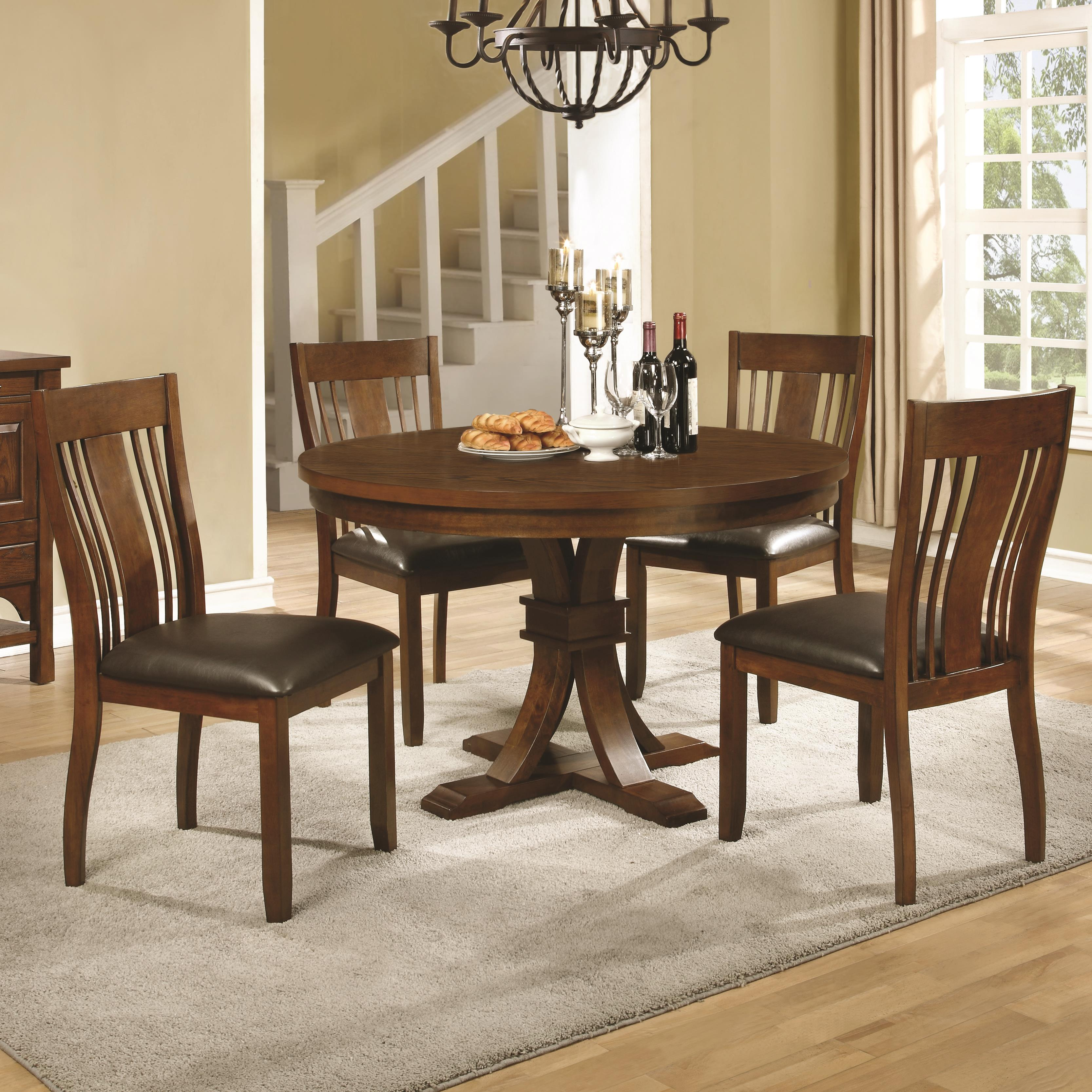 Coaster Abrams 5 Piece Round Table Set - Item Number: 106480+4x106482