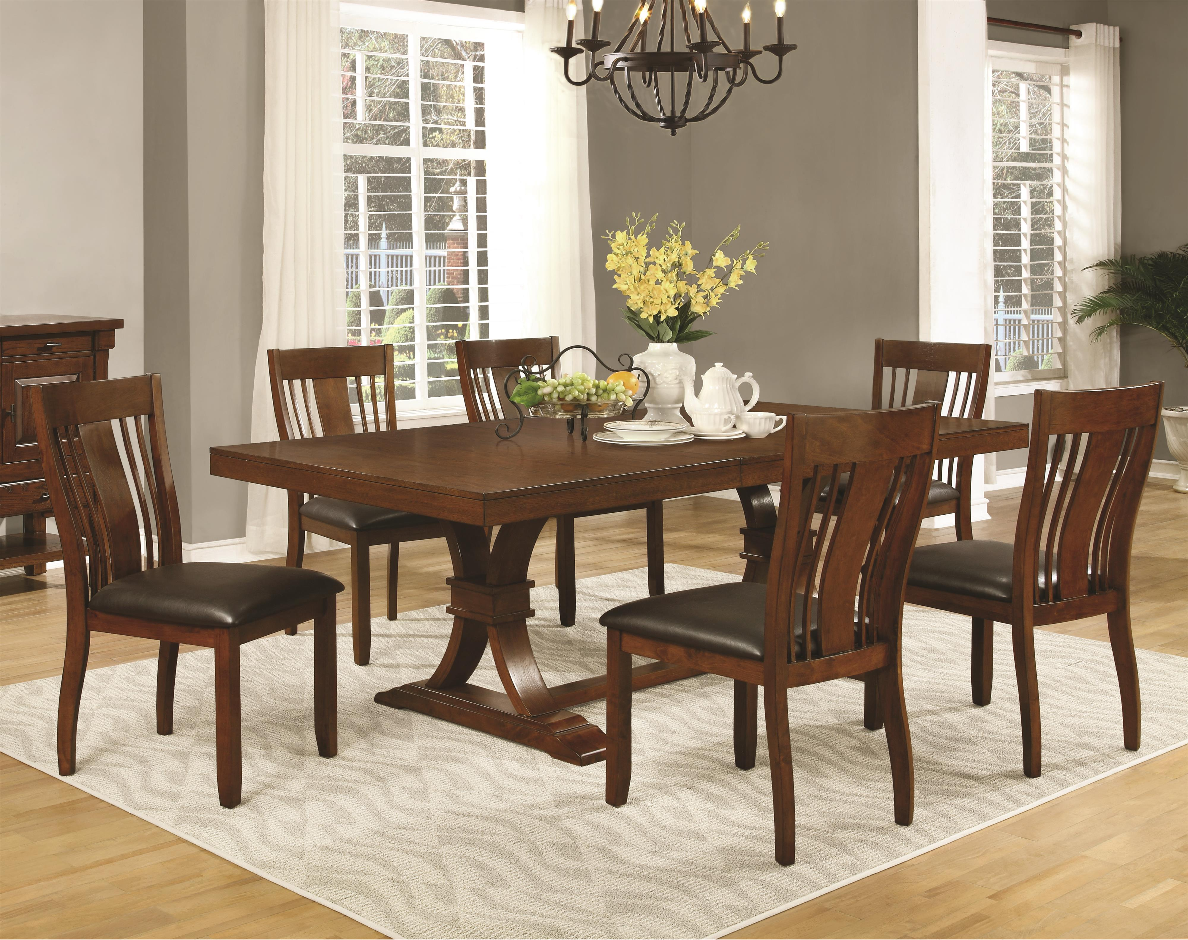 Coaster Abrams 7 Piece Dining Table Set - Item Number: 106481+6x106482