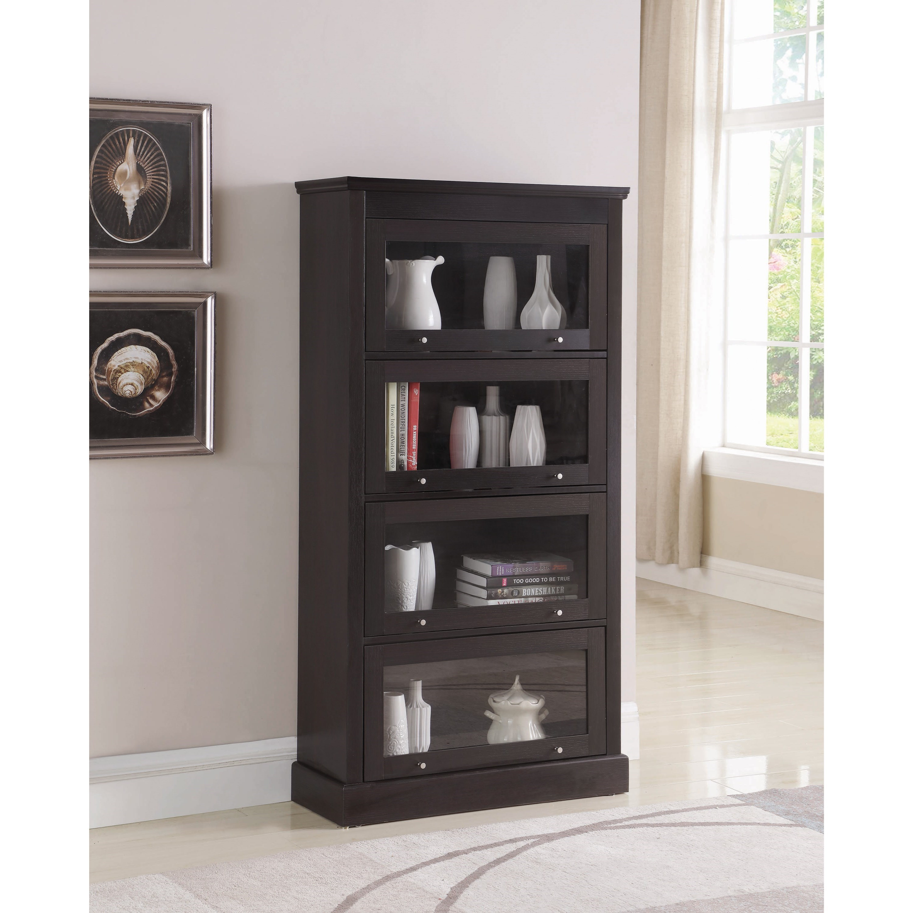 Coaster Accent Cabinets 802588 Transitional Bookcase With Tempered