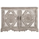 Coaster Accent Cabinets Distressed Grey Accent Cabinet with Ornate Doors