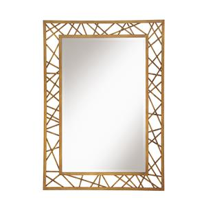 Coaster Accent Mirrors Rectangular Mirror with Geometric Gold Frame